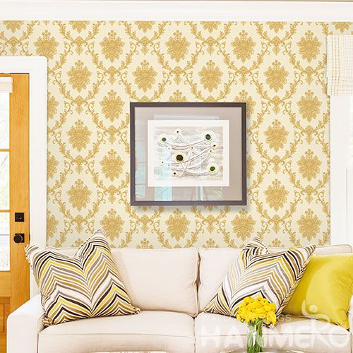 HANMERO Yellow Damask Classic Pattern High Quality Bed Room Natural Non-woven Wallpaper 0.53 * 10M Chinese Wallcovering Factory