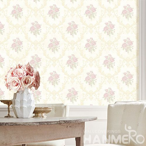 HANMERO Modern European Design Non-woven Wallpaper 0.53 * 10M Pink Flowers for Luxury Home Decoration from China Nature Sense