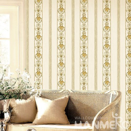 HANMERO European Modern Yellow Stripes 0.53 * 10M Non-woven Wallpaper Wholesale Prices for TV Sofa Background Decorative