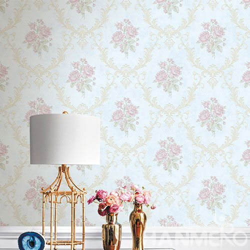 HANMERO Nature Pink Flowers Pattern 0.53 * 10M / Roll Non-woven Wallpaper Kids Bed Room Wallcovering from Chinese Exporter on Sale