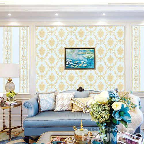 HANMERO Hot Selling 0.53 * 10m Non-woven Wallpaper Gloden Damask Pattern Home Wallcovering for Wall Vender from Hubei China