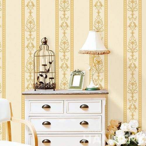 HANMERO Affordable Classic 0.53 * 10M Non-woven Wallpaper Yellow Stripes Designs for Household Decoration Factory Sell Directlly