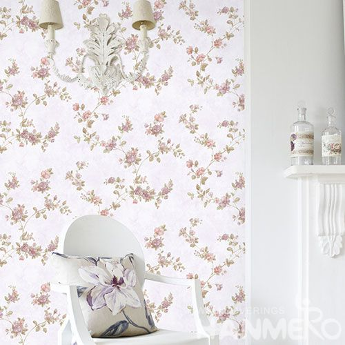 HANMERO Pink Color Beautiful Flowers Design Non-woven Wallpaper 0.53 * 10M Kids Bedroom Wall Decor Chinese New Style Hot Selling