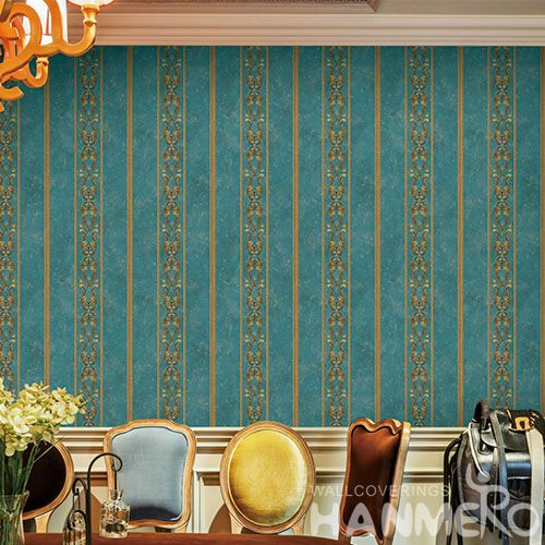 HANMERO Non-woven Modern Gloden Stripes Design Wallcovering Nature Sense Household Office Decor Wallpaper 0.53 * 10M Best Selling