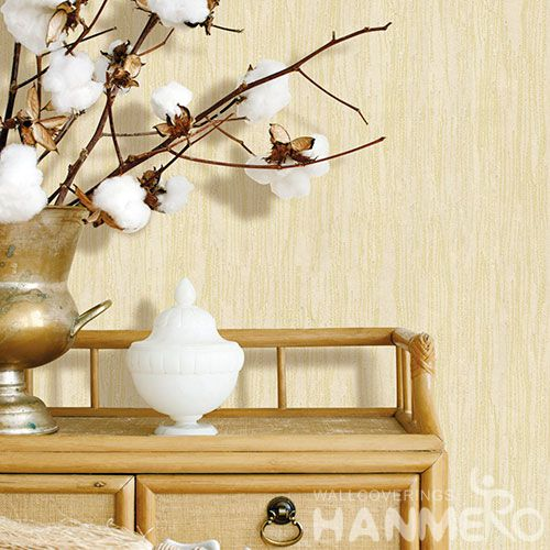 HANMERO Beige Color Non-woven Wallpaper 0.53 * 10M Natural Material Chinese Wallcovering Vendor Modern Simple Style for TV Sofa Background