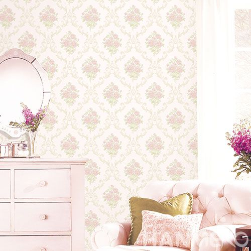 HANMERO European Modern Non-woven Wallpaper 0.53 * 10M Pink Flowers Household Decor Wallcovering China Supplier CE Certificate