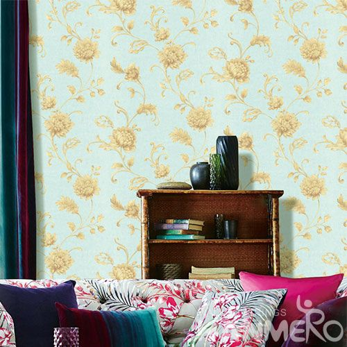 HANMERO Chinese Home Interior Modern Vintage Flower Wallpaper Image 0.53 * 10M PVC Room Decoration Wallcovering Wholesaler