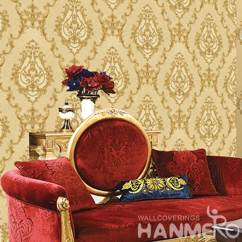HANMERO Yellow Modern Best Prices Popular Style PVC Wallpaper for Interior Wall Design Wallcovering Vendor Hubei China Chinese