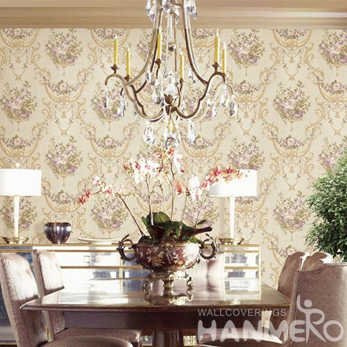 HANMERO Natural Material New Style PVC Purple Flowers Wallpaper 0.53 * 10M / roll Bedroom House Decorative Best Prices