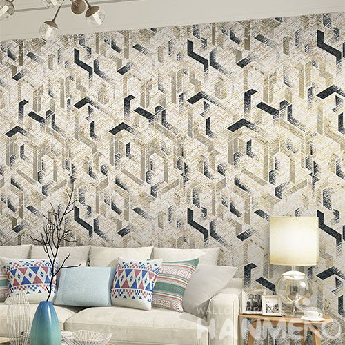 HANMERO New Published Luxury Modern Germetric Design Non-woven 0.53*10m Wallpaper Fresh Hot Selling Wallcovering