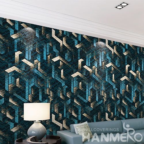 HANMERO High Quality Removable Natural Non-woven Wallpaper Germetric Textured Cozy Home Decoration from China