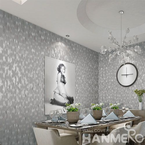 HANMERO Professional Home Wallcovering Non-woven Grey Color Wallpaper for Interior Household Wall from China Chinese