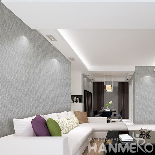HANMERO Professional Nature Sense Non-woven Pure Grey Color Wallpaper Manufacture from China with Superior Quality and Excellent Service