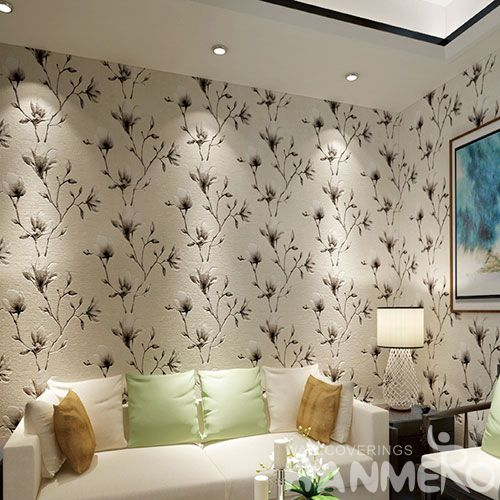 HANMERO Modern Style Nature Beautiful Flowers Suede Wallcovering 0.53 * 10M / Roll Hallways Lobby Decor Foaming Wallpaper