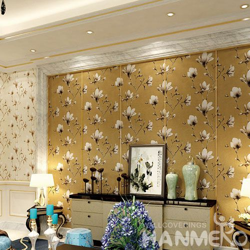 HANMERO Foaming Vintage Floral Suede Wallcovering 0.53 * 10M Hot Selling Wallpaper for Study Room Decoration Cozy