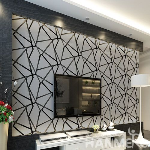 HANMERO Silver Color Geometric Design Suede Wallpaper 3D 0.53 * 10M Nightclub Saloon Wall Decor Chinese New Style