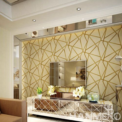 HANMERO Modern 3D Geometric Design Foaming Technology Suede Wallpaper 0.53 * 10M for Room Decoration from China Factory