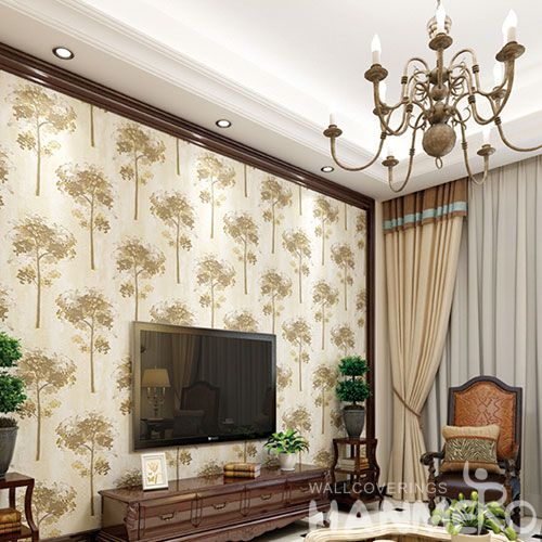 HANMERO Beige Color 3D Trees Pattern Suede Wallpaper 0.53 * 10M Kids Bedroom Decor Wallcovering from Chinese Factory