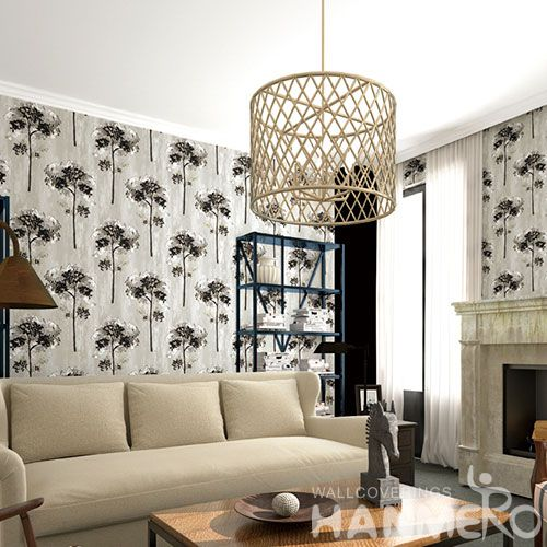 HANMERO Latest Suede 3D Trees Pattern 0.53 * 10M Wallpaper in Modern Classic Style from Chinese Wallcovering Manufacturer