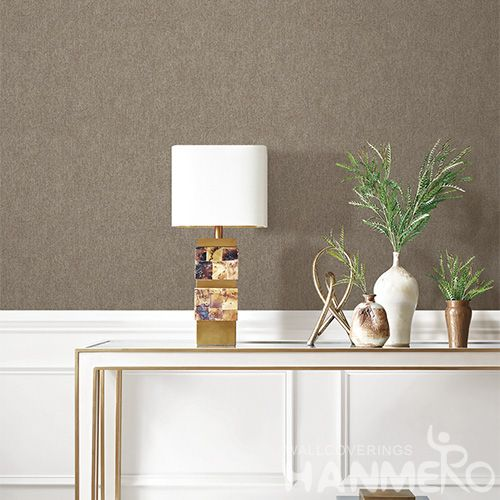 HANMERO Brown Pure Color Modern Simple Design PVC Deep Embossed Wallpaper 0.53 * 10M Nature Sense Wallcovering Factory Bedroom Decor