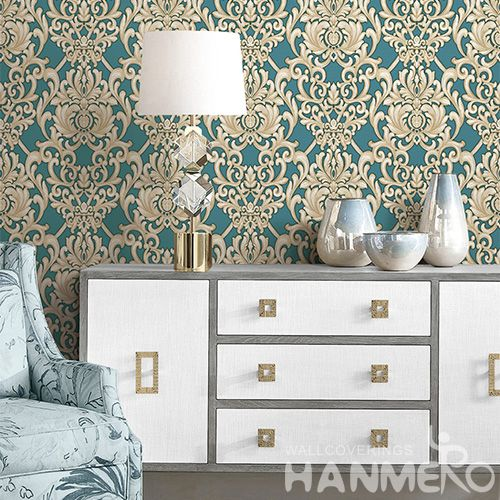 HANMERO Modern Fashion Damask Design Wallcovering Manufacture PVC Deep Embossed Wallpaper Study Room Decoration Hot