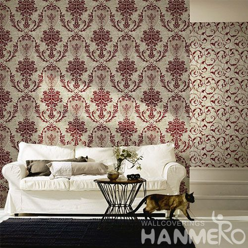 HANMERO Non-woven Modern Floral Monochrome Flocking Wallcovering Household Decor Low Price Wallpaper Hot