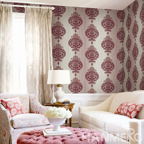 HANMERO Durable Damask Pattern Non-woven Wallpaper Online Cheap 0.53 * 10M Wallcovering Photo Quality for Home Room Wall