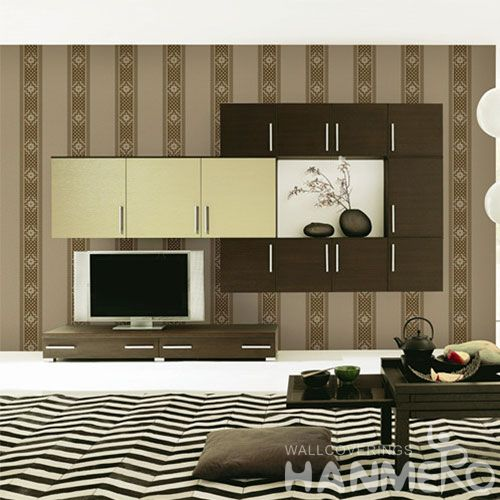 HANMERO Nature Stripes Pattern 0.53 * 10M / Roll Stylish Wallpaper Bed Room Non-woven Wallcovering Classic Style on Sale
