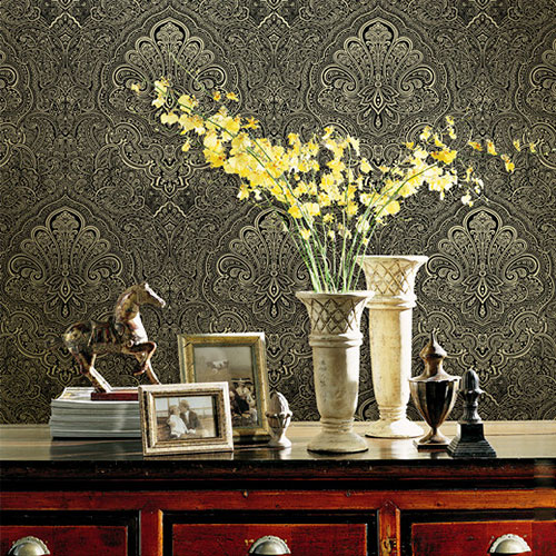 HANMERO Chinese Factory Gloden Flowers 0.53 * 10M  Non-woven Affordable Wallpaper Professional Wallcovering Chinese Dealer
