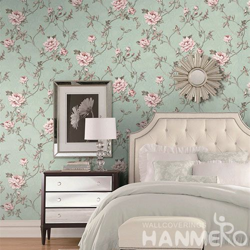 HANMERO Durable Hotels Bathroom Wallpaper PVC 1.06M European Newest Wallcovering with Nice Colors and Beautiful Floral Designs