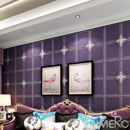 HANMERO Modern Purple Color 0.53 * 10M Suede Wallpaper Geometric Design for Sofa Backgroung from Chinese Factory Supplier