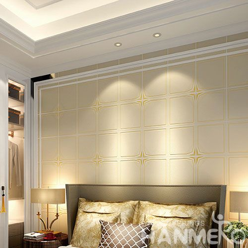 HANMERO Geometric Pattern Modern Style 0.53 * 10M Suede Wallpaper Chinese Factory Supplier With SGS CE Certificate