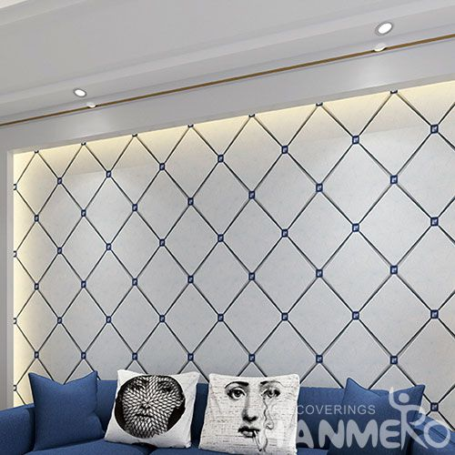 HANMERO Free Samples Offered Modern Design 0.53 * 10M 3D Geometric Suede Wallpaper Fresh Hot Selling Wallcovering