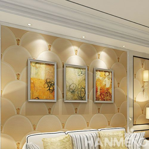 HANMERO New Arrival Household Wallcovering Supplier Beige Color Suede Wallpaper Best Prices in 0.53 * 10M / Roll