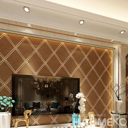 HANMERO Eco-friendly Natural Suede Wallpaper Foaming in Geometric Pattern for Elegant Home Bedroom Decoration
