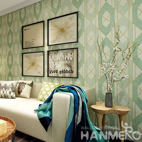 HANMERO New Arrival Geometric Pattern Bedroom Household 0.53 * 10M Suede Wallpaper for Wall Decoration from Chinese Supplier