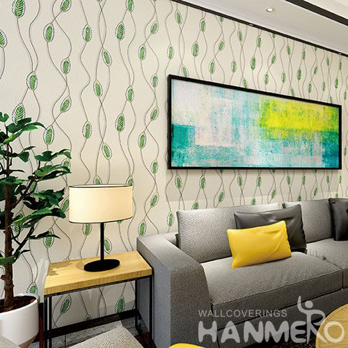 HANMERO Modern Green Leaves 0.53 * 10M Suede Wallpaper Foaming Technology Wholesale Prices for TV Sofa Background Decorative