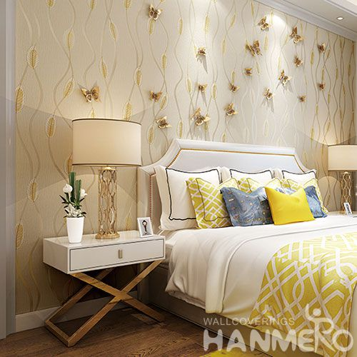 HANMERO Golden Color Suede Wallcovering 0.53 * 10M Removable Foaming Wallpaper for Office Exhibition Wall Photo Quality