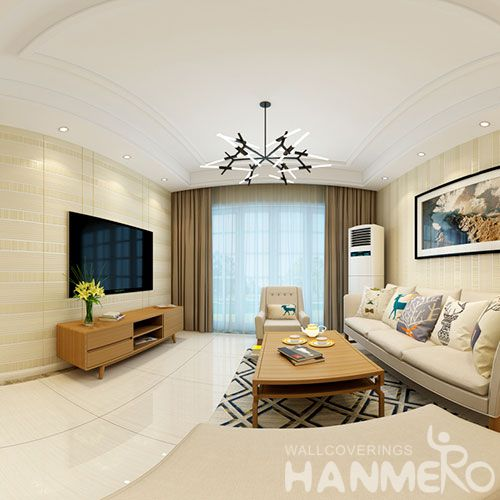 HANMERO Strippable Sitting Room Decorating Suede Wallpaper 0.53 * 10M / Roll Foaming Wallcovering from Professional Supplier
