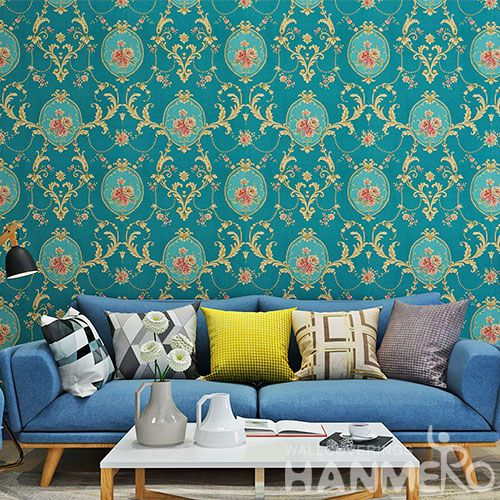 HANMERO Economical Eco-friendly Floral Design Wallpaper PVC 0.53 * 10M Natural Sense for Home Desinger European Style On Sale