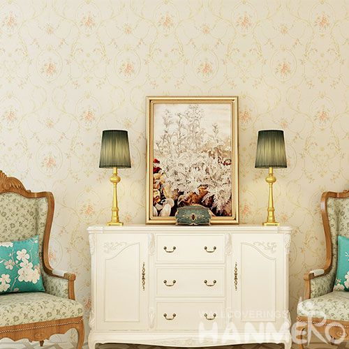 HANMERO Pink Flowers Eco-friendly Vinyl-coated PVC Wallcovering Wall Decor 0.53 * 10M Wallpaper Factory Sell Directly