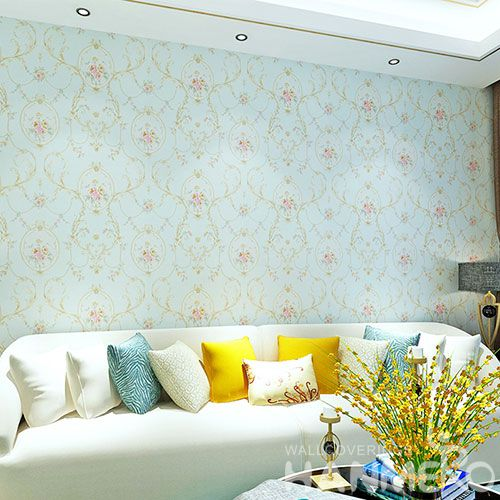 HANMERO Newest Economical Blue Color PVC 0.53 * 10M Wallpaper European Style on Sale from Chinese Factory Favorable Prices