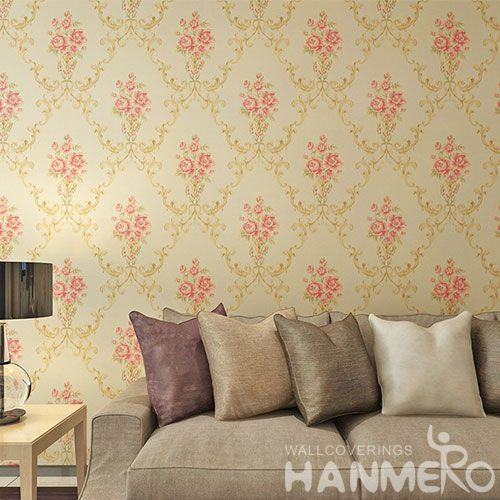 HANMERO Natural Sense Pink Flowers PVC Wallpaper 0.53 * 10M Fashion Beautiful Living Room Decorating Wallcovering Latest