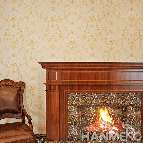 HANMERO Beige Floral Design Eco-friendly PVC 0.53 * 10M Wallpaper Chinese Exporter for Interior Home Room Decoration