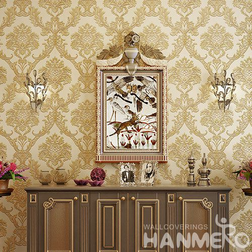 HANMERO Interior Decor Embossed Wallcovering Cozy Beige Color 0.53 * 10M Wallpaper Natural Material for Office Lounge Room
