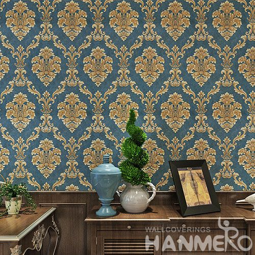 HANMERO Classic Fancy Blue Color Damask Design Wallpaper PVC 0.53 * 10M Embossed Technology  Home Decor Wallcovering
