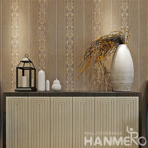 HANMERO Durable Interior Room Decorating Wallpaper 0.53 * 10M / Roll Brown Color PVC Wallcovering Best Selling
