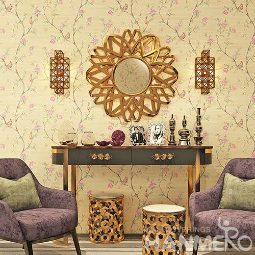 HANMERO Chinese 0.53 * 10M Fancy Stylish Pink Flwers Design Wallpaper for Elegant Home Room Wall Decoration Top Grade