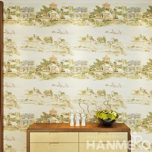 HANMERO Durable Hot Selling PVC Wallpaper Chinese Traditional Style 0.53 * 10M Wallcovering High Quality Bedroom Decor