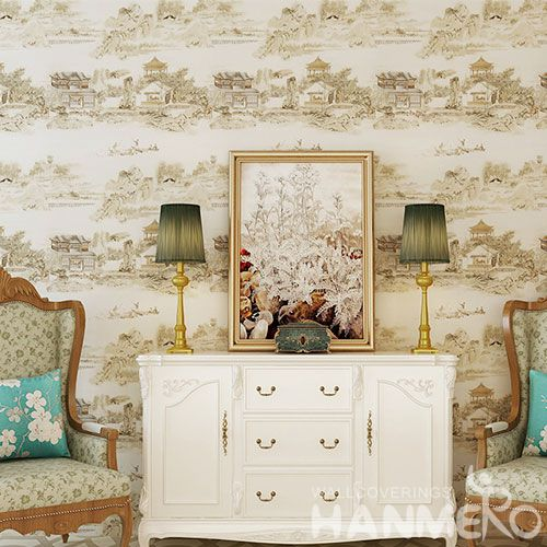 HANMERO CE certificate Economical Chinese Nature Scenery Design Wallpaper PVC 0.53 * 10M Wall Decoration Wallcovering